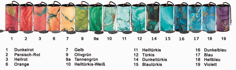 Farben der Zaphir-Klangspiele: Farbe 1: Dunkelrot (dark red) Farbe 2: Persisch-Rot (persian red) Farbe 3: Hellrot (salmon red) Farbe 4: Rosa (pink) Farbe 5: Hellorange (light orange) Farbe 6: Orange-Apricot (dark yellow) Farbe 7: Gelb (light yellow) Farbe 8: Senf/Gold (gold) Farbe 9: Olivgrün (olivegreen) Farbe 9a: Tannengrün (pinegreen) Farbe 10: Helltürkis-Weiß (snow white) Farbe 11: Helltürks (arctic white) Farbe 12: Türkis (turquoise) Farbe 13: Blau-Grün (sea blue light) Farbe 14: Dunkeltürkis (sea blue dark) Farbe 15: Blautürkis (sky blue) Farbe 16: Dunkelblau (egytian blue) Farbe 17: Blau (blue) Farbe 18: Hellblau (light blue-violet) Farbe 19: Violett (violet-blue) Farbe 20: Violett rötlich (violet-red)