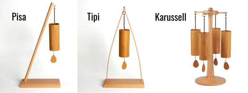 Ideal für alle, die keine Aufhängemöglichkeit für Koshis zuhause haben: Die Klangspiel-Ständer Pisa, Tipi und Karussell.