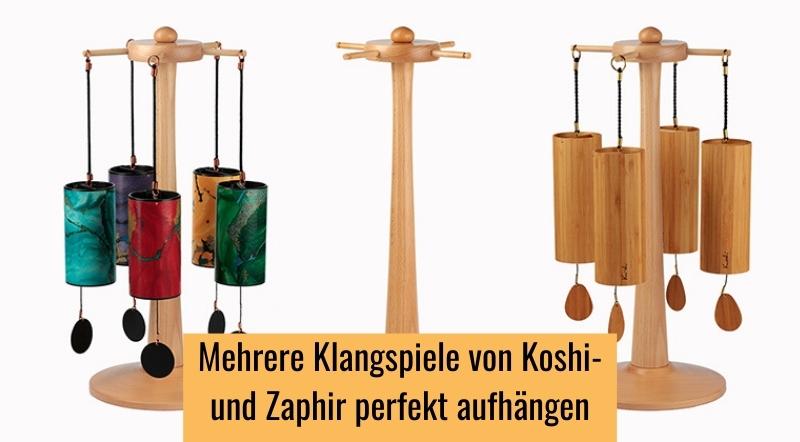 Mehrere Klangspiele von Koshi und Zaphir perfekt aufhängen mit dem drehbaren Ständer Karussell.