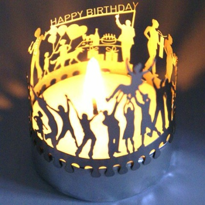Happy Birthday - Teelicht-Silhouette