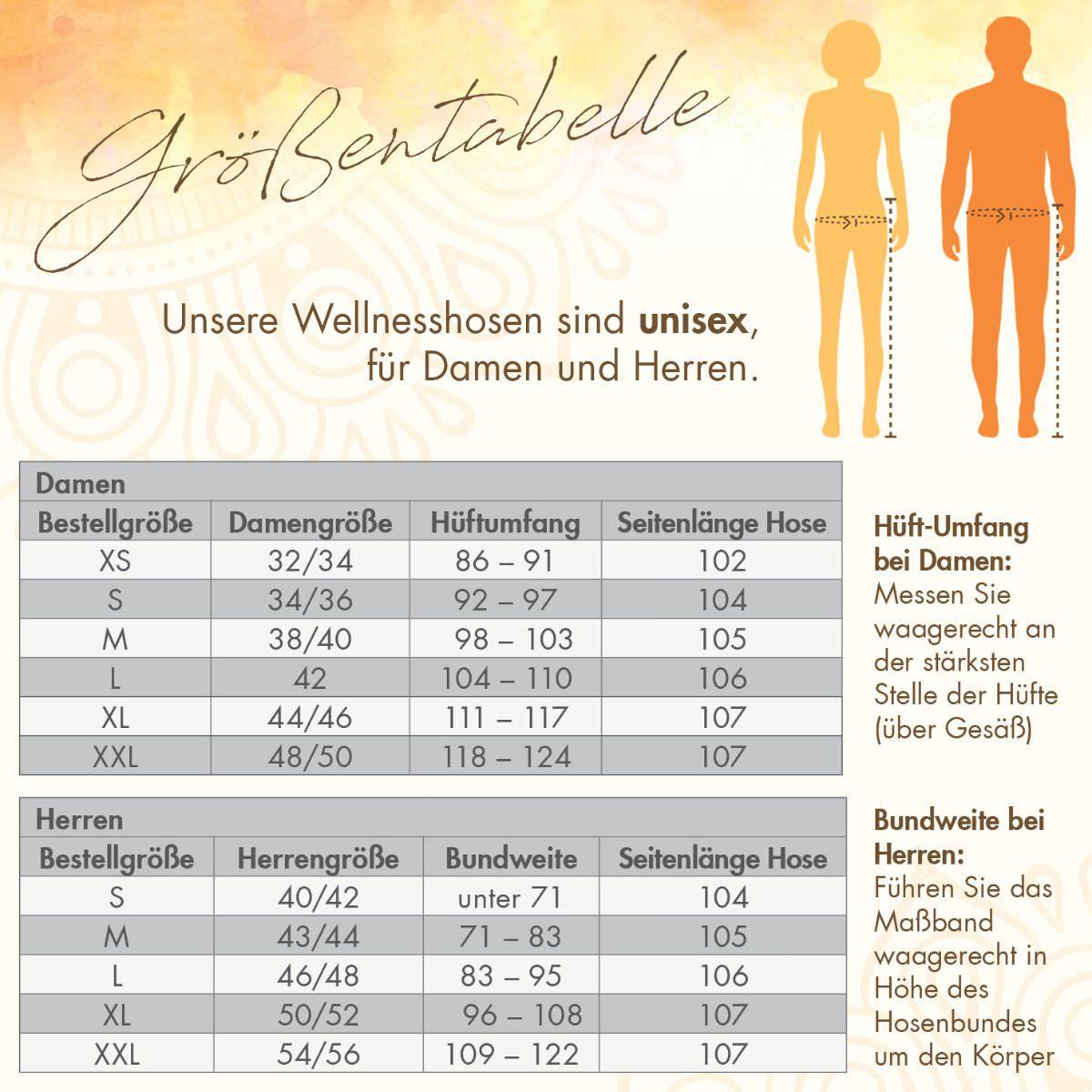 Wellnesshosen unisex Größentabelle Spirit of Om