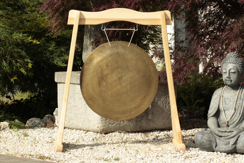 Gong mit Blume des Lebens für Yoga und Meditation oder als Deko-Element mit Asia-Spirit